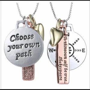 To thine own self be true compass necklace NEW
